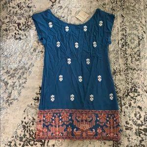 THML Blue White & Orange Stitched Dress Size S